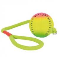 Мяч с веревкой ф6см/30см, неон, 1 шт.