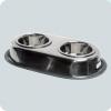 Кормушка металл овальная двойная с резинкой №3 2 х 0,90л